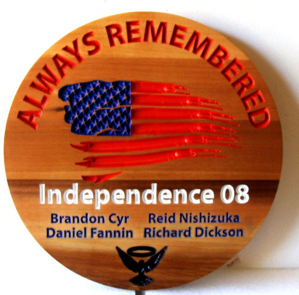 """GC16875 - Engraved Cedar Memorial  Wall Plaque """"Independence 08"""" Honoring  the Four Airmen Who Died  Aboard a  Spy Plane in Afghanistan while Conducting a Mission"""