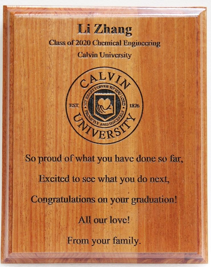RP-2040 - Engraved Mahogany Plaque for New Graduate, Calvin University