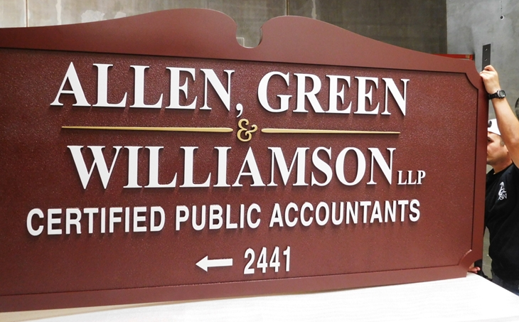 C12003 - Carved Cedar Wood Sign for Certified Public Accountants