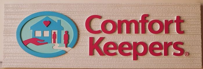 """S28103Large Carved and Sandblasted Wood Grain  HDU Commercial Sign for  """"Comfort Keepers"""" ,  2.5-D Artist-Painted"""