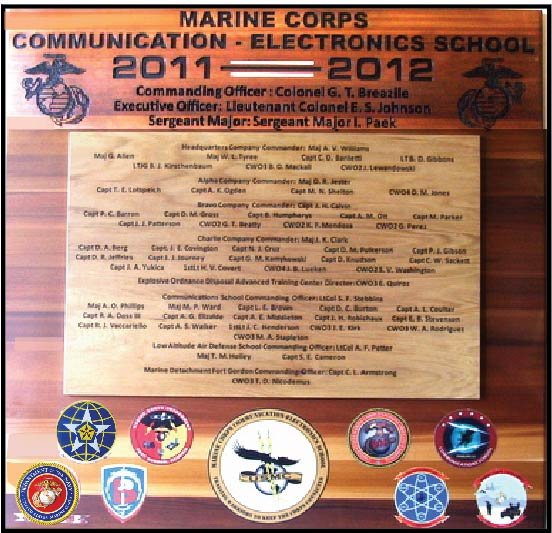 KP-2520-  Carved Command Board, Communications Electronics School,  Cedar Wood