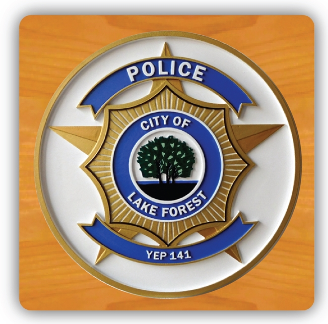 EA-2095 -  Badge of Police Department of the City of Lake Forest on Mahogany Plaque