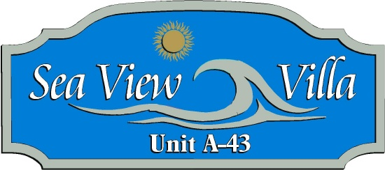 "L21172 - Sign for Condominium ""Sea View Villa"" ,with  Sun and Stylized Surf"