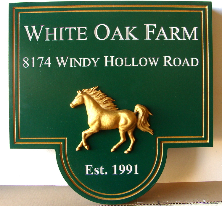P25005A - Custom Carved Equine Farm Entrance Sign, with Gold-Gilded 3D Arabian Stallion