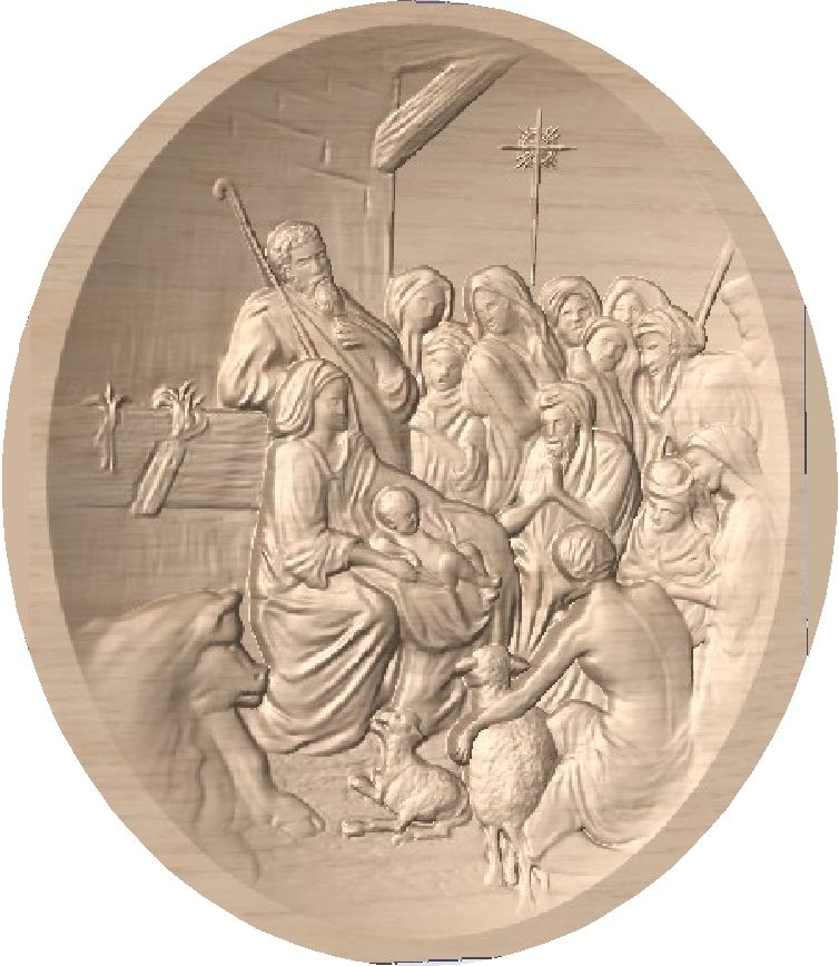 D13352 - Carved Alder Wood Bas-Relief Plaque of Nativity Manger Scene