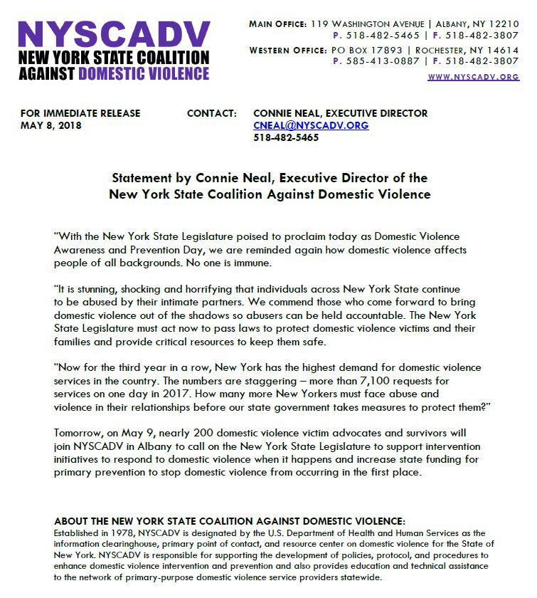 Statement by Connie Neal, Executive Director of the NYSCADV