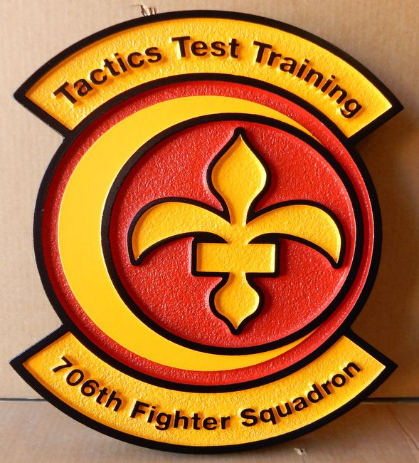 """LP-2675 - Carved Round Plaque of the Crest of the 706th  Fighter Squadron """"Tactics Test Training"""",  Artist Painted"""