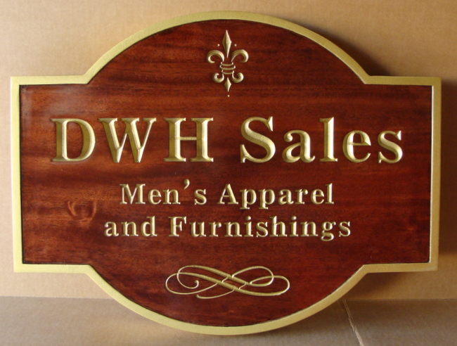 M3067 - Carved Mahogany Sign for Men's Apparel and Furnishings, Painted Gold Fleur-de-Lis, Text and Borders  (Gallery 28A)