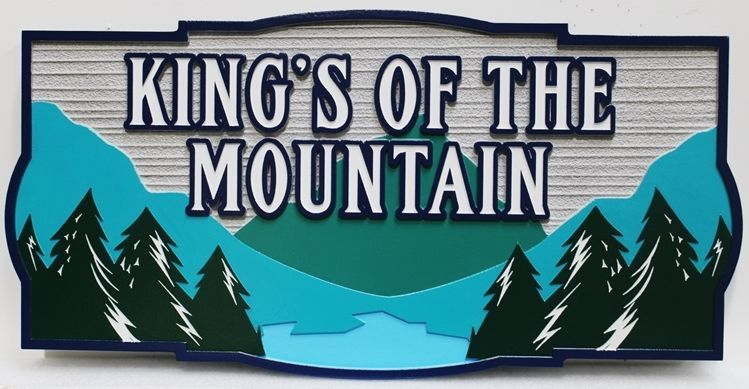 "M22309 -  Carved and Sandblasted Wood Grain  2.5-D Multi-level Relief HDU residence Name  Sign ""King's of the Mountain"", with Mountain, Lake and Trees as Artwork."