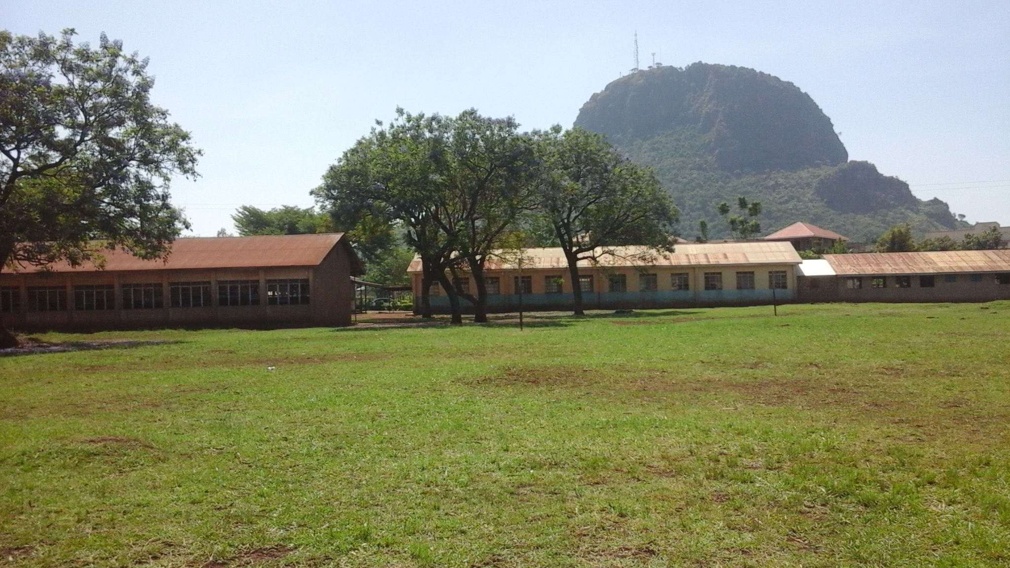 View of Tororo Rock behind school