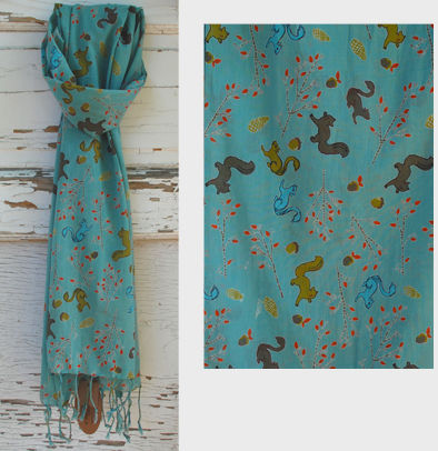 Squirrel Cotton Scarf with Fringe - Blue
