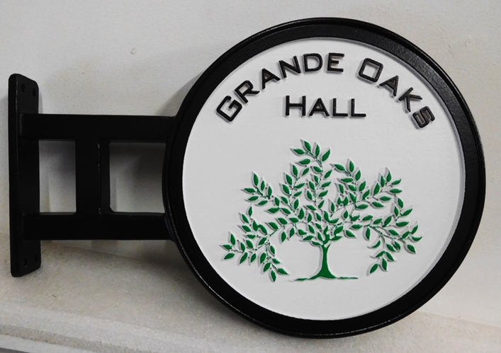 "T29232 - Carved Sign made for the ""Grand Oaks Hall"" of an Inn, with Custom Wrought Iron Bracket for Mounting on a Wall"