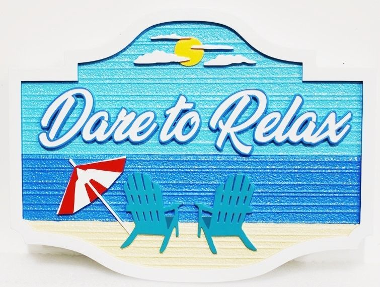 "L21026 – Carved 2.5D HDU Beach House Sign, ""Ultimate Pearl"", with Two Chairs facing Ocean, ""Dare to Relax"""