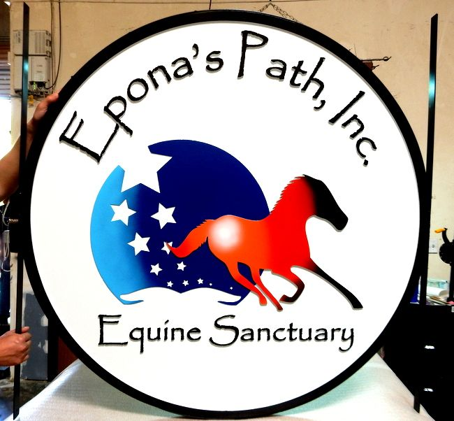 M1628 -  Carved Sign for Equine Sanctuary, with Galloping Horse and Starry Sky (Gallery 24)