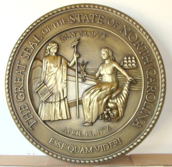 BP-1400 - Carved Plaque of the Great Seal of the State of North Carolina, Brass-Plated