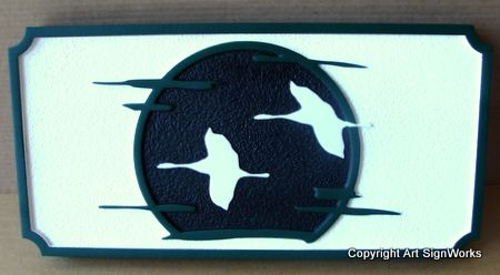 N23212 - Carved Wall Plaque of Geese in Flight with Full Moon Background as Artwork