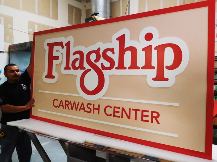 "S28032- Large Carved  HDU Commercial Sign made for the ""Flagship Carwash Center"" , 2.5-D Artist-Painted"