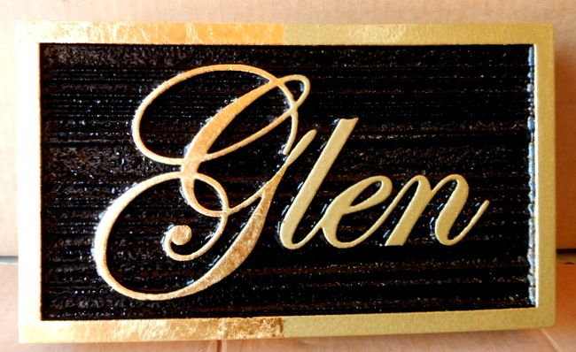 M7345 - 2.5D Name Plaque with Text and Border Gilded with Gold-Leaf