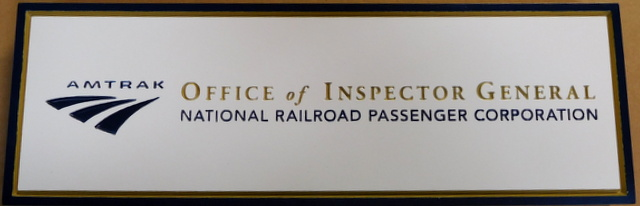 U30409 - Engraved HDU Wall or Door  Office  Plaque  for the Inspector General of AMTRAK