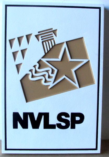 "SA28594 - Carved HDU Sign for ""NVLSP"" with Engraved Logo"
