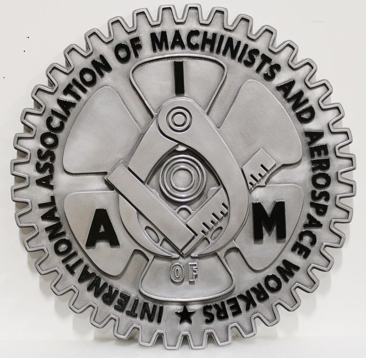 SA28503 - Carved Multi-Level Raised Relief  Wall Plaque  for the International Association of Machinists and Aerospace Workers(IAM) with  Calipers & Gear Wheel as Artwork