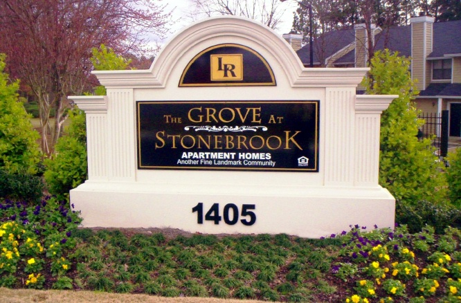 "K20058 - Arched Dimensional EPS Entrance Monument Sign for ""The Grove at Stonebrook"" Apartment Homes"