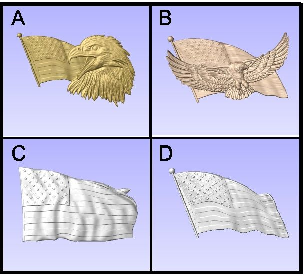 F15810 - Carved U.S. Flags and Flags with Eagles