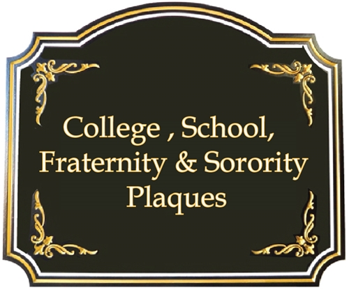 (C) College and School Identity, Graduation and Award Plaques, also Fraternity & Sorority Emblems & Coats-of-Arms