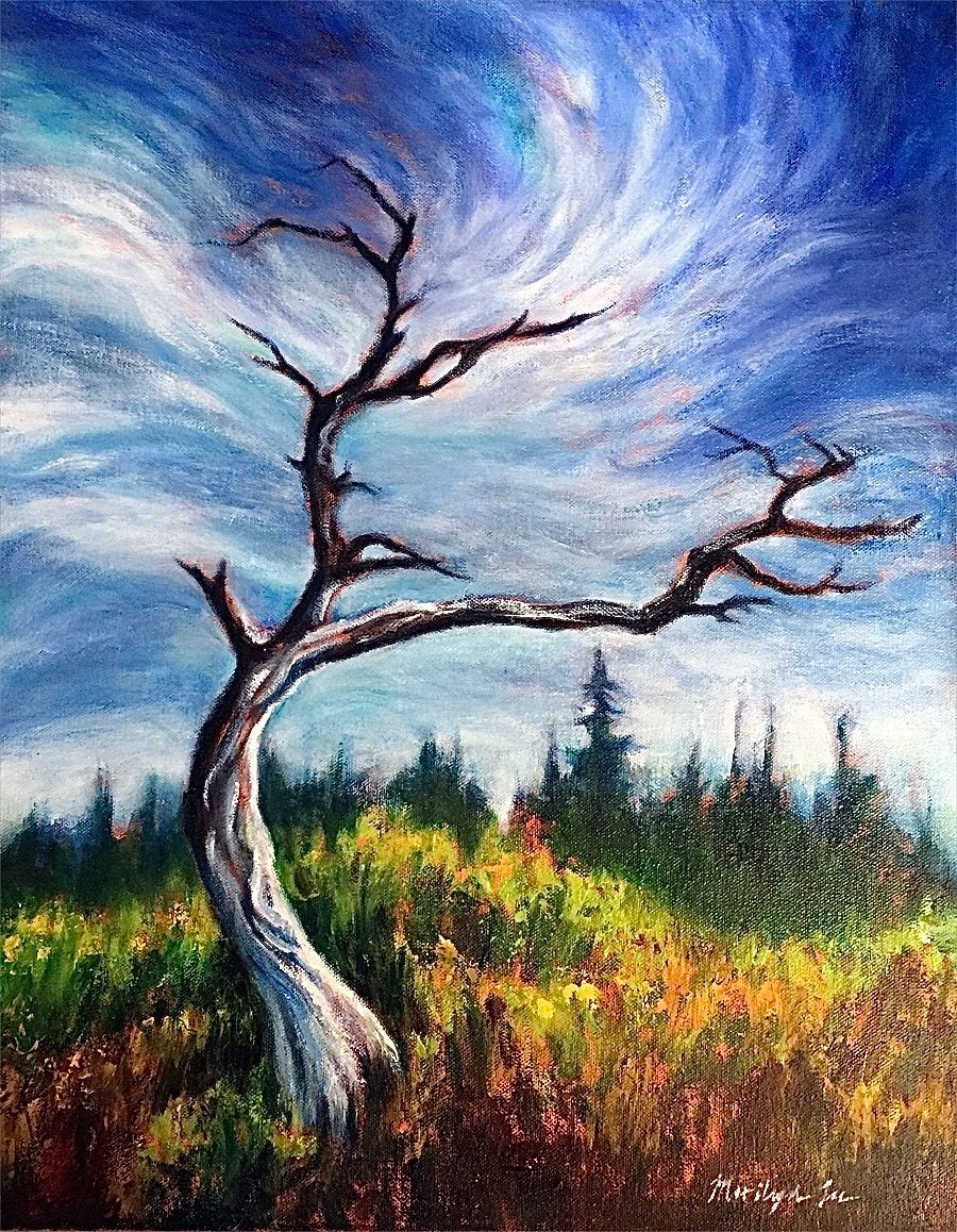 "Marilyn Lee - ""Bull Pine Snag, Muskeg by Point Higgins School II"""