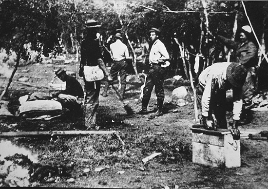 The University of Missouri Geology Field Camp has been in the canyon since 1915. Here students break camp, which was originally a tent camp at the mouth of the canyon.