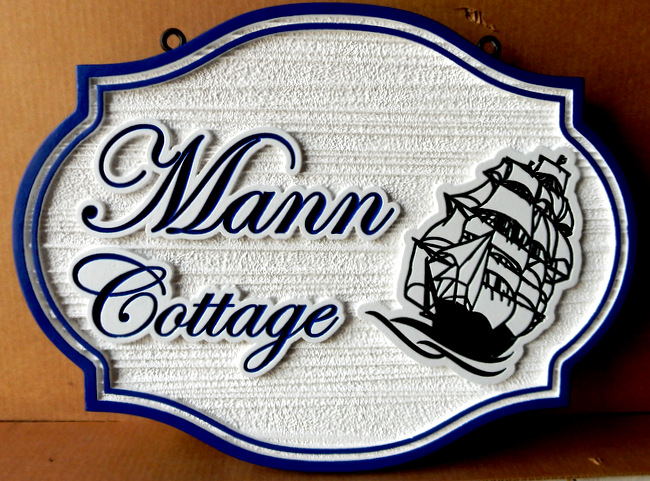 L21752 - Engraved and Sandblasted Seaside Cottage Sign with Clipper Ship as Artwork