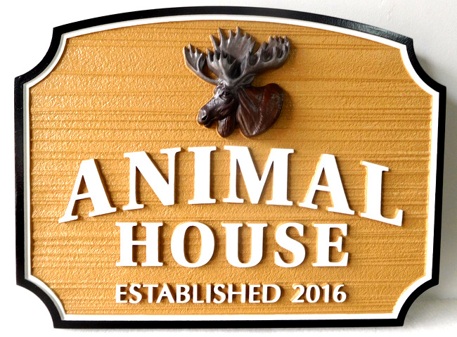 "M22643 - Cabin Sign ""Animal House"" featuring a 3-D Carving of a Moose Head"