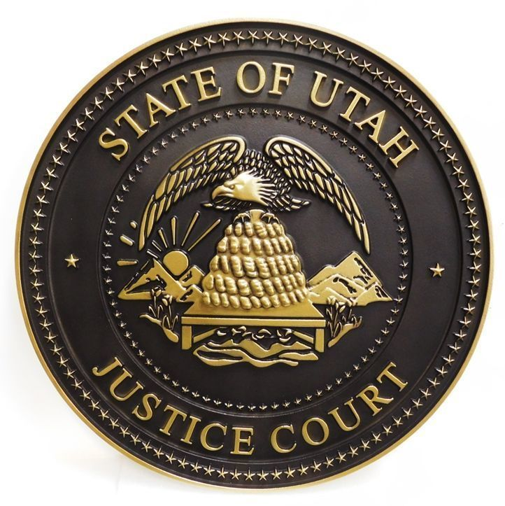 W32492 - Carved 3-D Brass-Plated Plaque of the Seal of the Justice Court of the State of Utah