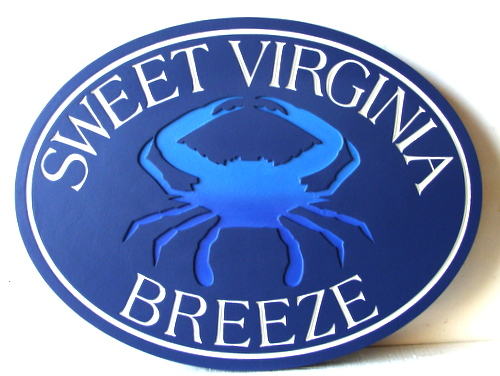 "L21554 - Carved and Engraved HDU Beach House Sign with Maryland Crab, ""Sweet Virginia Breeze"""