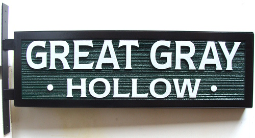 GA16507 - Carved HDU Sign for Great Gray Hollow, Side-Mounted Sign Bracket