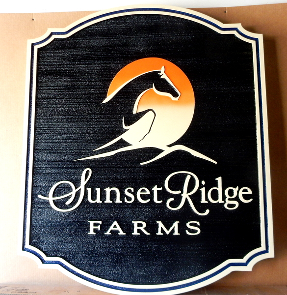 O24211 - Sunset Ridge Farm   Sign with Stylized  Horse Jumping, with a Sunset in the Background