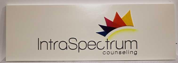 S28151 - Carved Sign for the IntroSpectrum Counseling Company., with Multi-color Logo as Artwork