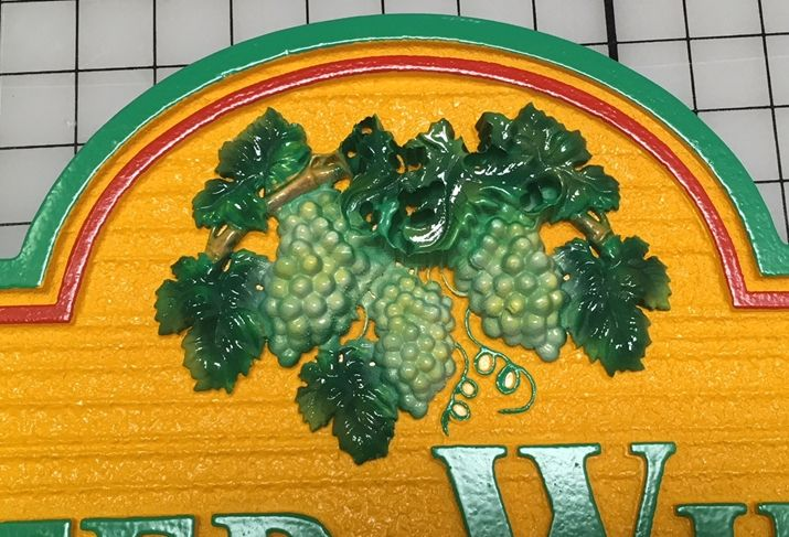 R27450- Carved 3-D  Grape Fruit and Leaf Cluster Applique, Artist-brush Painted Green, Can be Mounted on Any Sign
