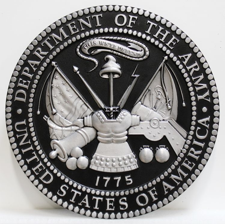 MP-1060 - Carved Plaque of the Great Seal of the US Army (USA), 3-D, Painted with Metallic Silver with Hand-Rubbed Black