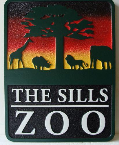 O24640 - The Sills Zoo Ranch Sign, Sandblasted HDU, with Elephant, Giraffe, Lion and Rhino as Artwork
