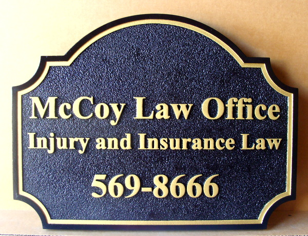 A10146 - Carved and Sandblasted HDU Law Office Entrance Sign