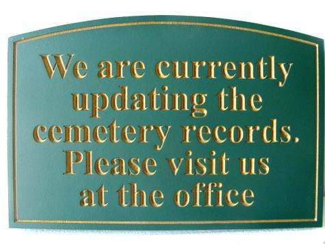 """GC16385 - Engraved High-Density-Urethane (HDU)  """"Cemetery Records """"  Sign for a Cemetery"""