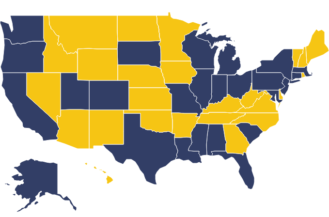 Map of the United States showing USHEQX 2015 participants in navy