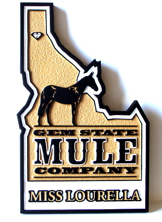 SA28319 -Sandblasted and Carved HDU  Gem Store Sign in shape of Idaho, with Mule
