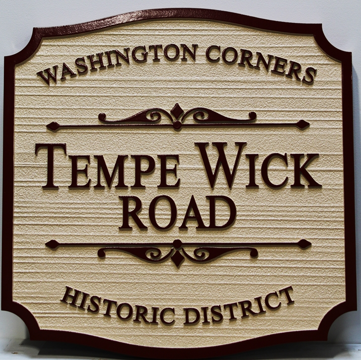 H17040 - Carved  and Sandblasted Wood Grain HDU) Name Sign, Tempe Wick Road,for Washington Corners Historical District