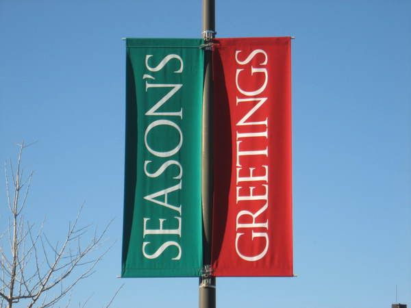 Light Pole Shopping Center Banners, 2.5 ft. x 8 ft., Double Faced, Seasonal Graphics, Printed on Sunbrella Fabric Banner
