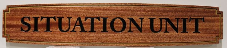 IP-1984 - Engraved Room Name Sign for a Situation Unit, Mahogany Wood