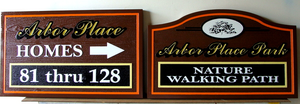 KA20596 - Carved Cedar Unit Number Wayfinding Sign and Nature Path Sign