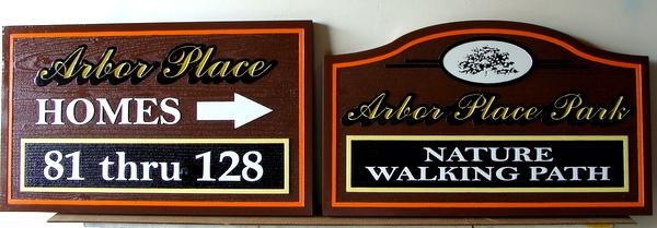 KA20596 - Carved Cedar Unit Number Wayfinding Sign and Nature Path Sign