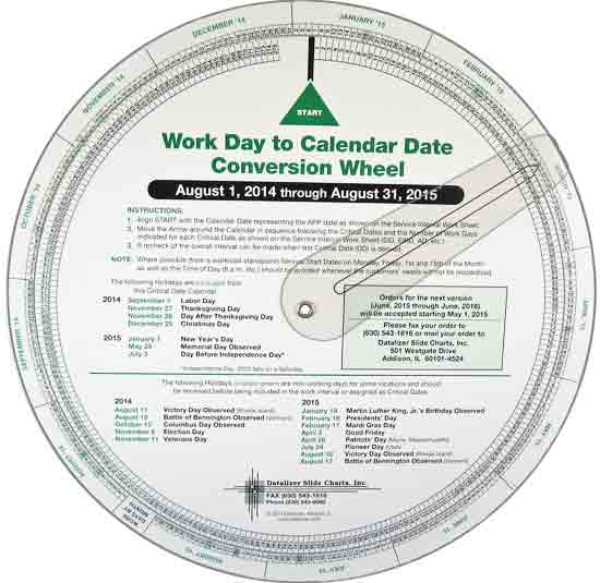 9-1/2 Inch Work Day to Calendar Date Conversion Wheel